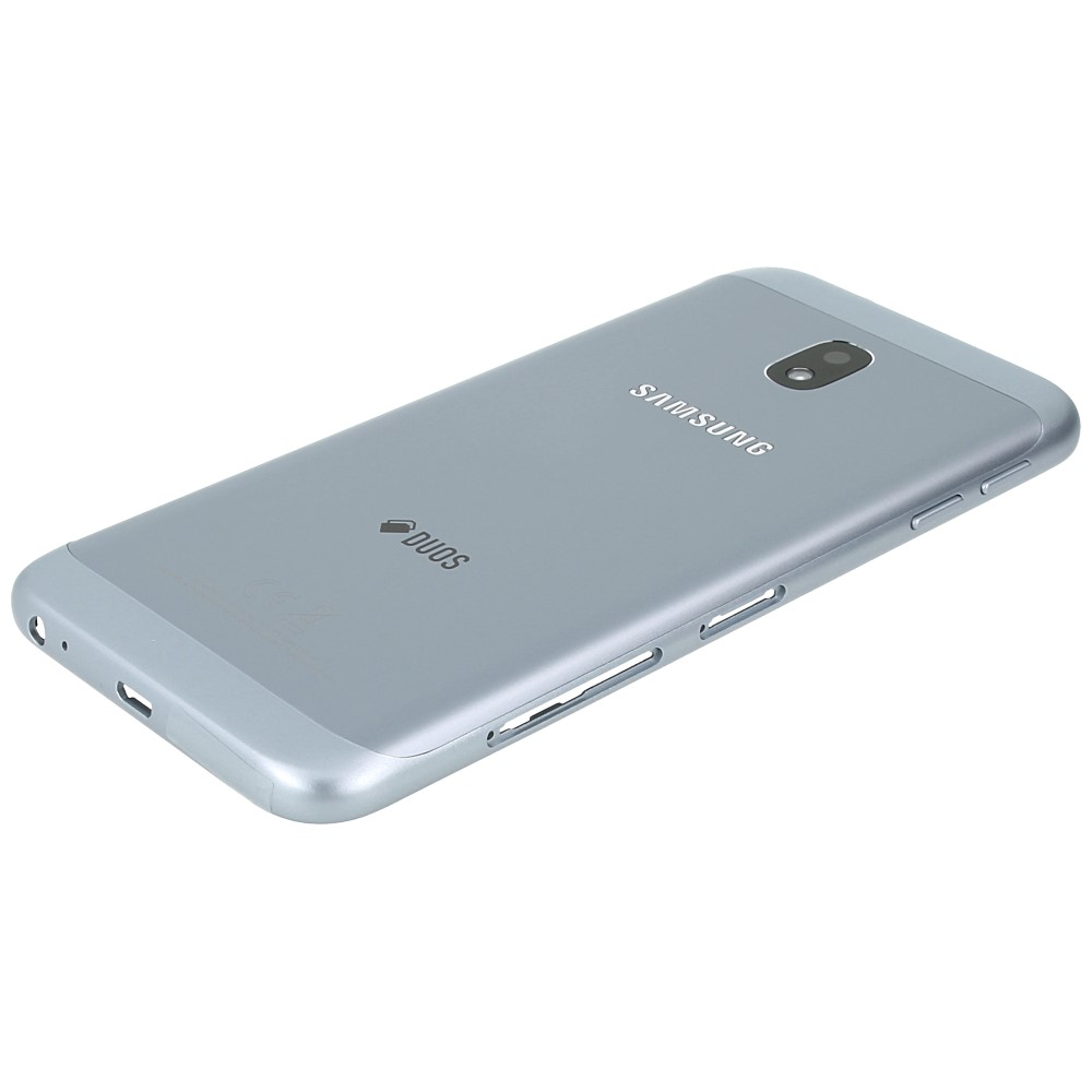 samsung galaxy j3 2017 sm j330f battery cover with duos logo silver blue gh82 14891b. Black Bedroom Furniture Sets. Home Design Ideas