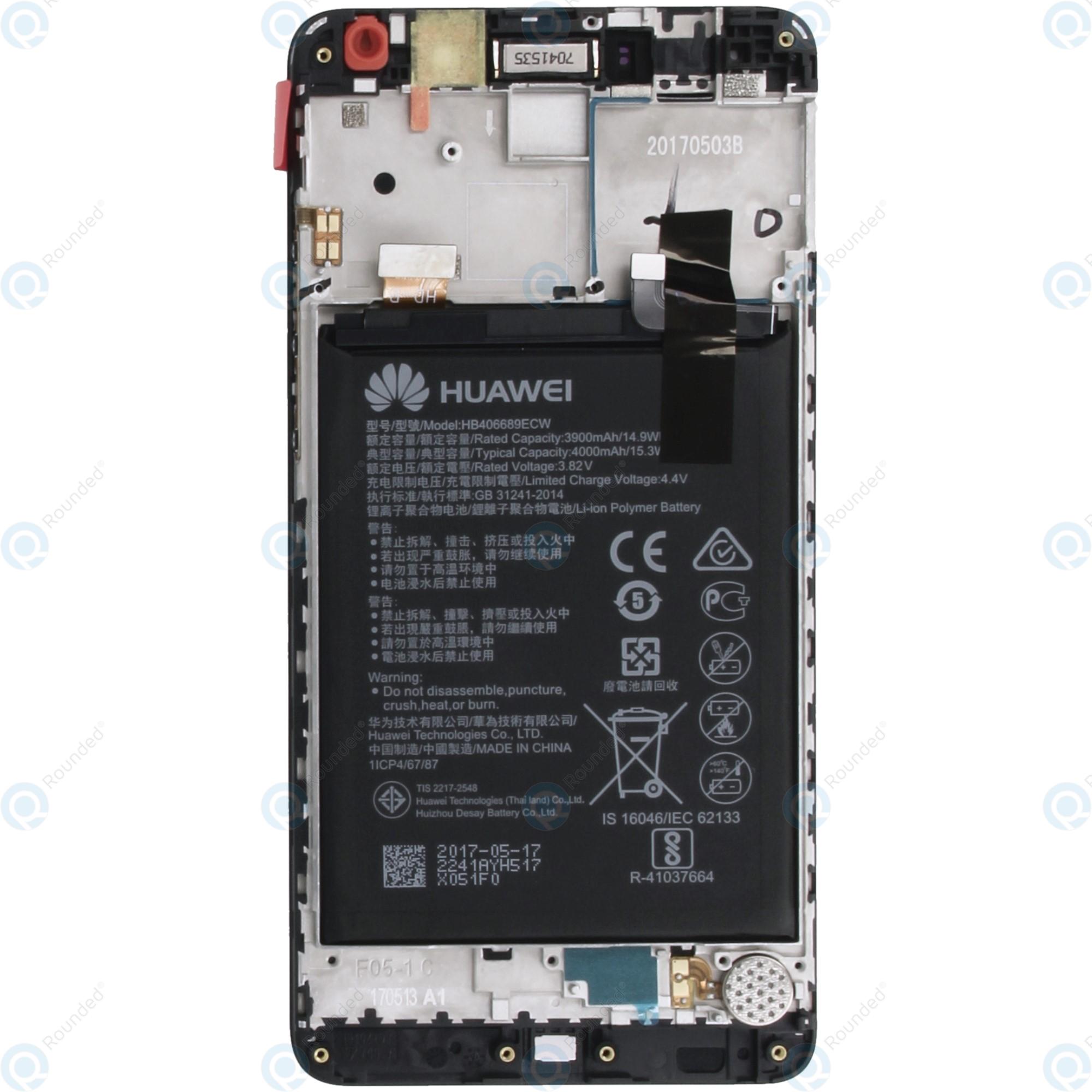 Huawei Y7 (TRT-L21) Display module frontcover+lcd+digitizer+battery grey  02351HSB