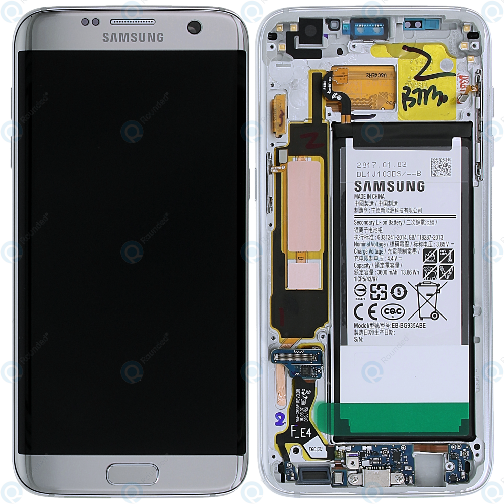 Samsung Galaxy S7 Edge (SM-G935F) Display module  frontcover+lcd+digitizer+battery silver GH82-13389A