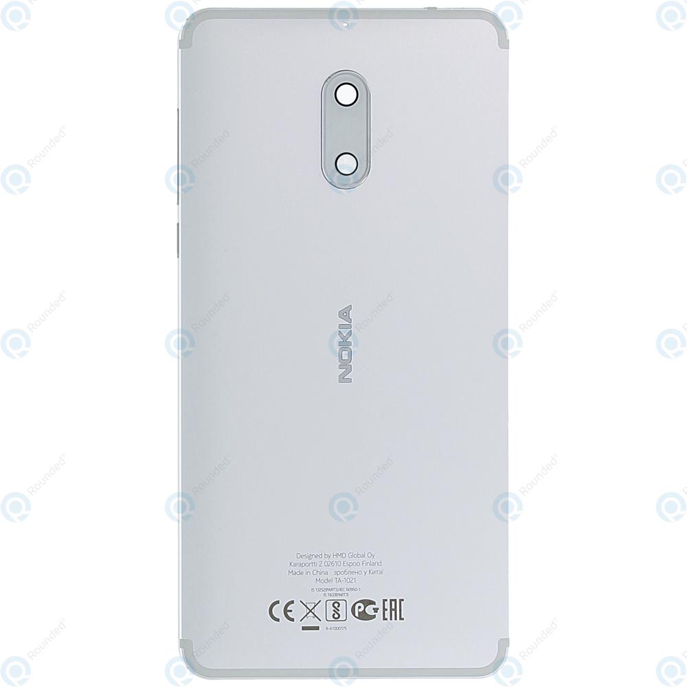 Nokia 6 Battery cover white-silver 20PLESW0016