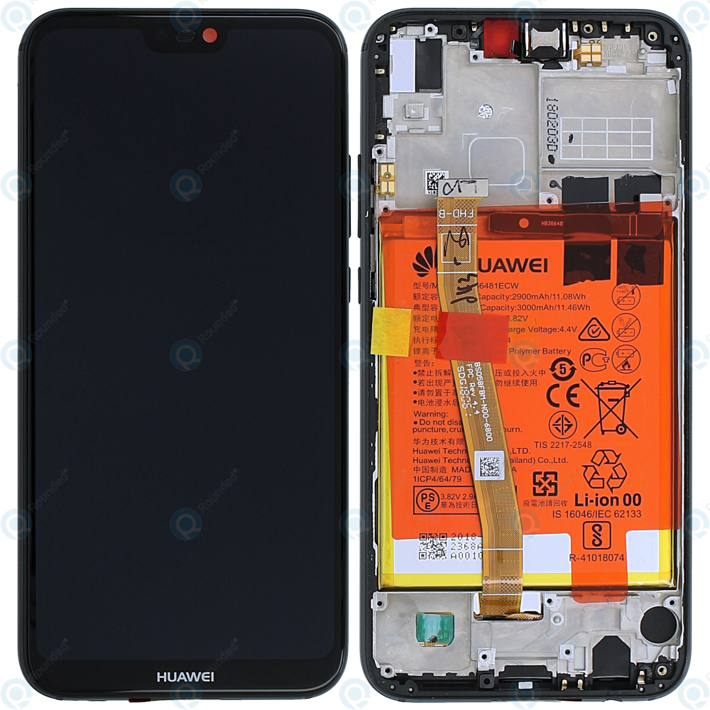 Huawei P20 Lite ANE L20 Display module front cover + LCD + digitizer +  battery midnight black 20VPR