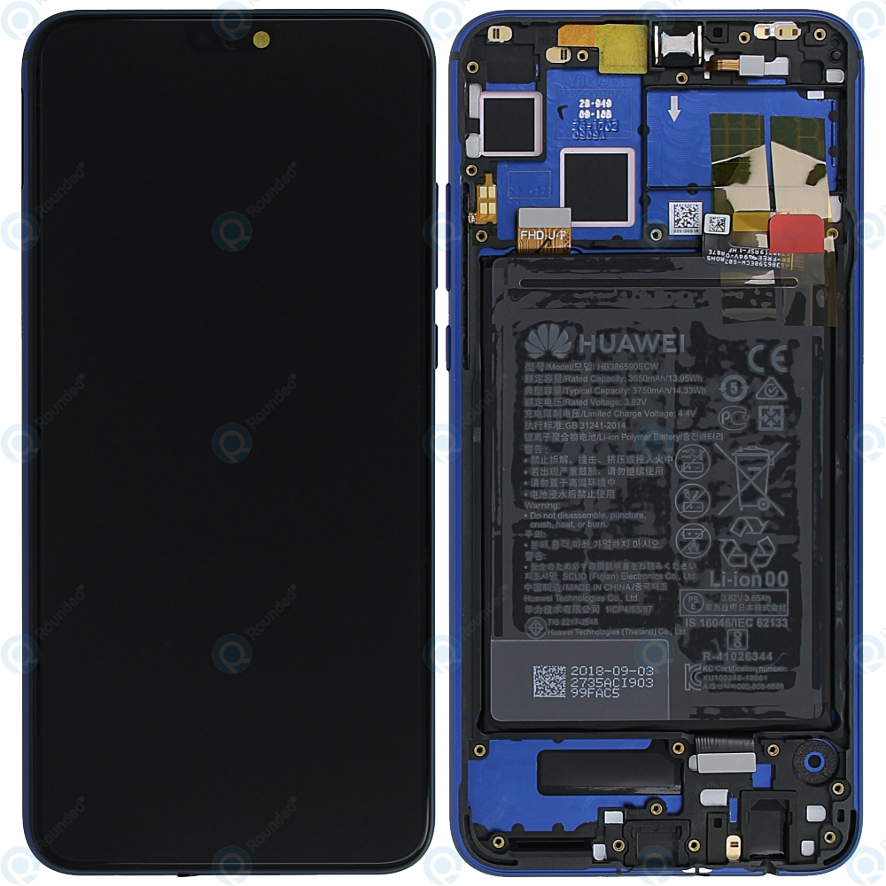 Huawei Honor 8X Display module frontcover+lcd+digitizer+battery blue  02352EAQ