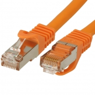 FTP CAT7 network cable 7.5 meter Type: S/FTP CAT7. Wires: AWG 26. Connector 1: RJ45 Male. Connector 2: RJ45 Male. Length: 7.55 meter. Color: Orange. Halogen free: Yes.