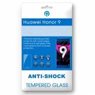Huawei Honor 9 Tempered glass Anti-shock Tempered GlassUse the  Anti-shock Tempered Glass. for optimal protection of your touchscreen. It protects your device against scratches, bumps and falling, this ensures a longer life of your display. This Anti-shock Tempered Glass is made of real glass that has been hardened in a special way. It is only 0.3mm thin and has no negative impact on your touch screen. The Anti-shock Tempered Glass has rounded edges. Because of this the Anti-shock Tempered glass is barely noticeable and does not interfere during use.You can easily stick the Anti-shock Tempered Glass without bubbles. Just put the Anti-shock Tempered Glass right on the device and push it from the middle, starting at the speaker, from top to bottom on the screen. After this the product will stick itself onto the screen.Content: 	1x Anti-shock Tempered Glass	Microfiber cloth to remove dust	Alcohol cloth to remove fat/oilFeatures:	9H hardness glass	Oleophobic coating	Responsive touch	Satter proof	Complete transparency	Perfect adhesion