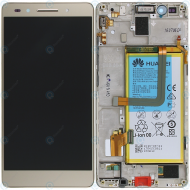 Huawei Honor 7 (PLK-L01) Display module frontcover+lcd+digitizer+battery gold 02350QTN