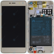 Huawei Y6 2017 (MYA-L11) Display module frontcover+lcd+digitizer+battery gold 02351DMF