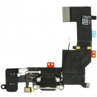 Charging connector flex incl. Audio connector black for iPhone 5S Incl. audio connector and microphone module.