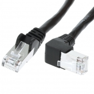 FTP CAT6 network cable 0.25 meter Type: S/FTP CAT6. Wires: AWG 27/7. Connector 1: RJ45 Male. Connector 2: RJ45 Male. Length: 0.25 meter. Color: Black. Halogen free: No. Extra: 1x Right angle cable.