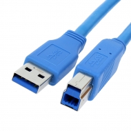 USB Printer cable 5 meter Version: USB 3.0 SuperSpeed. Connector types: USB A Male to USB B Male. Length: 5 meter. Color: Blue.